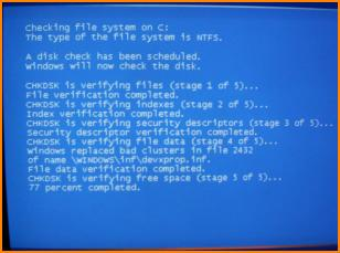 Disk Error Checking Display