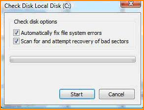 Disk Checking Options Screen