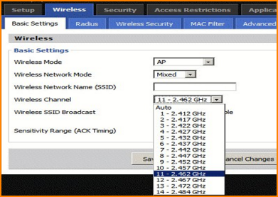 Changing Default Channel in Router Setup
