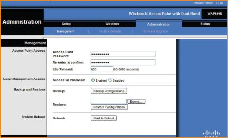 Router Administration Screen