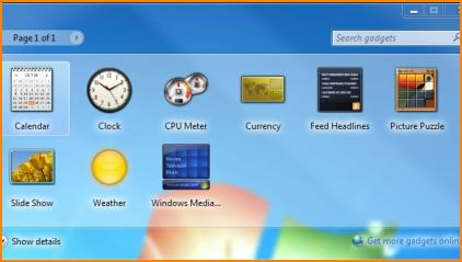 Default Windows 7 Gadget Options
