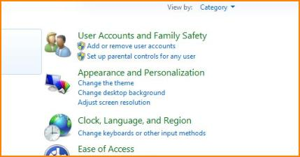 User Account Category in Control Panel